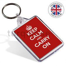 Keep Calm And Carry On Gift Keyring Key Fob Chain | 50 x 35 mm | Medium Size