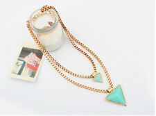 New Double Layers Geometry Triangle Pendant Chain Choker Statement Bib Necklace