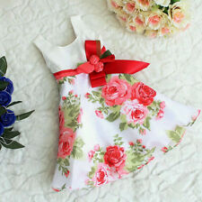New Baby Girls Children Kids Pageant Party Floral Sleeveless Bowknot Dress