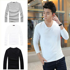 Men Fashion Slim Fit Cotton V-Neck Long Sleeve Casual T-Shirt Tops New