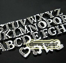 8mm A-Z Clear Half Rhinestone Slide Letters Charms Fit 8MM Bracelets Bangles