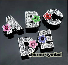 8mm A-Z Rhinestone Flower Letters Slide Letters Charms Fit 8MM Belt Bracelets