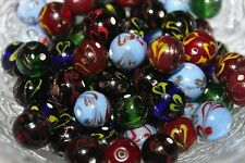 Lampwork -Glass Beads-Gold/Flower Work - 12 - 13 mm - Round - 24 & 50 Beads/Pack