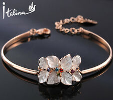 18K Rose Gold Flower Bracelet Bangles With Genuine Austrian Crystal