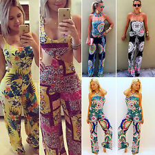 Women's Boho Floral Print Long Playsuits Party Summer Casual Jumpsuit Shorts New
