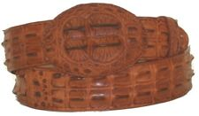 Belt Crocodile Alligator Head Cut Design Embossed Leather Cowboy Western Cognac
