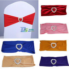 50pcs x Heart Stretch Spandex Wedding Chair Cover Sashes Band Bow Party Supplies