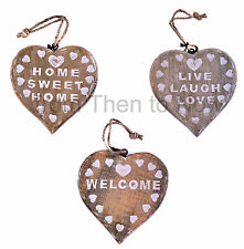 Chic Shabby Chunky Carved Wooden Hanging Heart Plaque Sign Rustic Country Home
