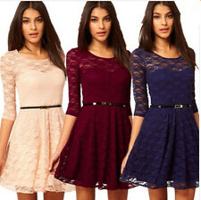 4 Colours Womens Spoon Neck 3/4 Sleeve Lace Skater Mini Dress Belt Include