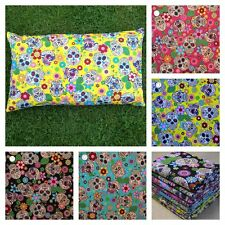 Mexican Skull Floral 50 cm x 30 cm Oblong Bolster Cushion Cover 100% Cotton.