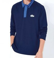 Lacoste Long Sleeve Polo Shirt Navy Blue RRP £110 Genuine Size-4/6 - M/XL