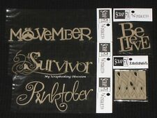 SCRAP FX Chipboard Wordlets 'CANCER AWARENESS' Embellishments (Choose from 6)