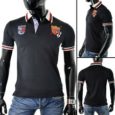 New Polo T-Shirt Classic Cut Stylish Collar Casual Event Embrioded Black Medium