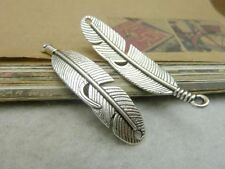 Wholesale 5/10/30pcs Silver bronze feather alloy charm finding pendant 45x11mm