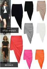 WOMEN'S CELEB INSP RUCHED WRAP BANDED WAIST SIDE SPLIT DRAPE ASYMMETRICAL SKIRT