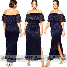 Plus Sz XL XXL Off Shoulder Lace Maxi Sexy Slim Formal Party Evening Long Dress