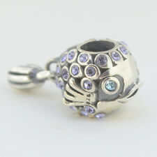 Sterling Silver 925 European Charm Purple Fish Blue Eyes & Dangle Fin Bead 99190