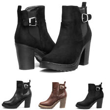 Womens Pull On Chunky High Heels Block Platform Ankle Zip Chelsea Boots Shoes AU