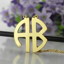 Block Monogram Necklace 18k Gold Plated Name Necklace Personalized Jewelry