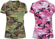 Womens Camouflage Long Length V-Neck Military T-Shirt