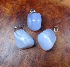 Blue Lace Agate Crystal Necklace - Tumbled Gemstone Pendant (L23) Silver Plated