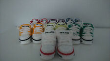 AUTUMN 2015  BABY CROCHET SHOES,LACES,ACRYLIC ,WHITE,REDS,BLUE,YELLOW,TRAINERS,