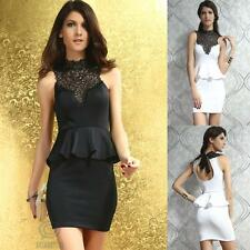 High Neck Halter Sleeveless Black Lace Sexy Stretch Bodycon Evening Party Dress