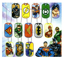 Justice League Avengers Super Heroes Dog Tag Necklace Boys Kids Party Favours