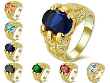 Mens Size 8,9,10,11,12 Sapphire Emerald 18K Gold Filled Wedding Solitaire Rings