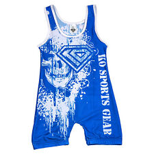 KO Sports Gear's White on Blue Skull Wrestling Singlet - CLOSEOUT PRICED