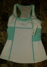 NWT Women's Kyodan  White & Mint Green Long Athletic Tank Top W/Shelf Bra LARGE
