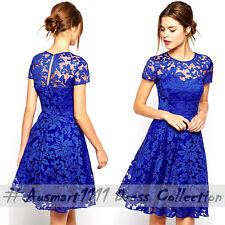 Sexy Short Sleeve Blue Lace Skater Bodycon Formal Prom Evening Gown Party Dress