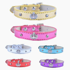 Small Leather Dog Collar Rhinestone Crown Collar Charm Designer Pet Dog Supplies
