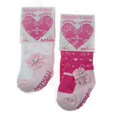 NEW Soft Touch Baby Girl Tights - Heart/Flower Design - NB-12 months