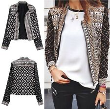 Womens Fashion Ladies Print Slim Casual Summer Blazer Suit Jacket Coat Outwear