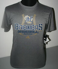 """MILWAUKEE BREWERS YOUTH  DARK CHARCOAL """"ADIDAS"""" POLYESTER SHIRT - NWT - LICENSED"""