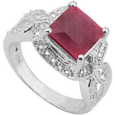 3.29 CTW GENUINE DIAMOND & GENUINE RUBY PLATINUM OVER 925 STERLING SILVER RING