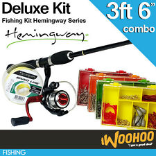 "Hemingway 3ft 6"" Whipstik Fishing Rod Reel Deluxe Combo Kit - Boat Pack Kayak"