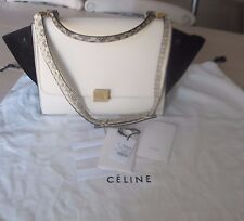 celine navy exotic leathers handbag trapeze