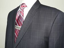 Mens Suit VITALI Two Button Wincdow Pane Plaid suit Big and Tall G3079 Navy Blue