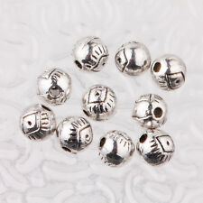 Hotsale 15/30Pcs Tibetan Silver Round Shape Delicate Loose Spacer Beads 6mm