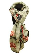"NEW Western Wear - 64"" x 34"" Soft Gray Voile Scarf with American Flag Design"