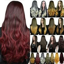 US Real As Natural 25'' Long Straight Curl Wavy Wig Ombre Hair Wigs Fancy Dress