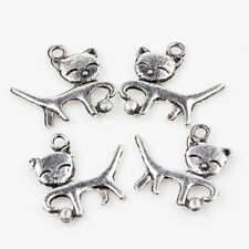 5/10Pcs Tibetan Silver Smiling Cats With Thread Balls Charm Pendants 18*18mm