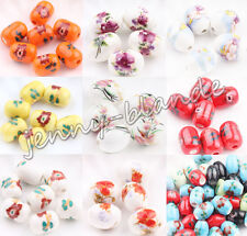 5-20 Flower Ceramic Porcelain Decal Flower Loose Spacer Bead Charm 13x10/18x13mm