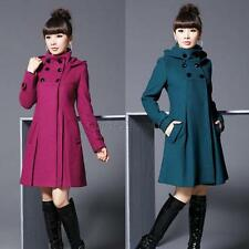 Women Stylish  Hoodie Jacket Outwear Tops Double-Breasted Wool Slim Coat Peacoat