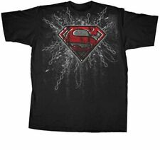 Youth Boys DC Comics Hero Superman Super Steel Red Foil Print Black T-shirt Tee