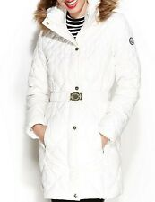GUESS Coat Hooded Fur Trim Quilted Puffer Belted Jacket White NEW 2017 OBO
