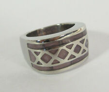 Geometric Ring Stainless Steel Imported Mens Jewelry Wide Shiny Brown Honeycomb
