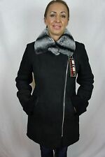 100% REAL GENUINE SHEARLING SUEDE LEATHER BLACK COAT JACKET CHINCHILLA, XS-6XL